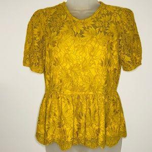 ZARA Mustard Lace Peplum Short Sleeve Top size S